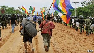 Marcha de protesta hacia La Paz