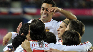 فرحة لاعبي اسبانيا