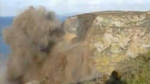 Imagem de penhasco feita por geólogo (BBC)