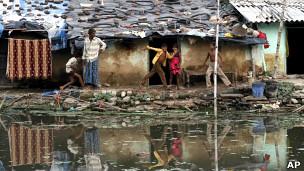 Famílias pobres na Índia