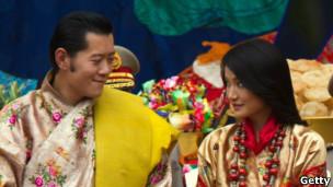 不丹国王旺楚克和新婚妻子吉增佩玛