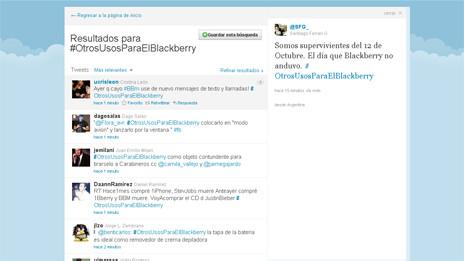 La red social Twitter se ha convertido en una plataforma en la que miles de usuarios del teléfono celular Blackberry han expresado su molestia por la interrupción del servicio. Con el paso de las horas, la frustración se transformó en chistes. Este jueves, entre los temas más populares de Twitter, en el ámbito global y en América Latina, había cuatro etiquetas relacionadas con Blackberry: #OtrosusosparaelBlackberry, #MiBB, #DearBlackBerry y #Blackberry. El lunes, el martes y el miércoles, millones de usuarios del teléfono fabricado por la empresa canadiense Research in Motion (RIM) en Europa, Medio Oriente, África, América Latina y América del