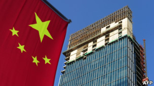 中国国旗和建筑