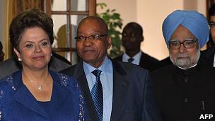Presidente Dilma, Jacob Zuma e Manmohan Singh (AFP)