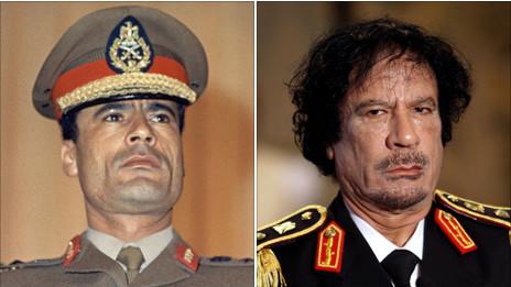 Ông Gaddafi vào năm 1969 và 2008