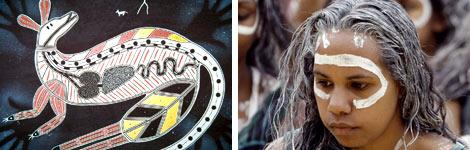 Aboriginal art (left), Aboriginal woman (right)