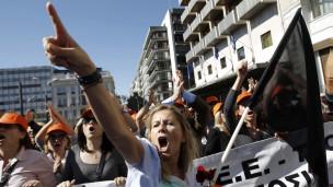 Manifestantes en Grecia