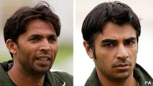 إدانة لاعبين باكستانيين بتهم التلاعب في نتائج مباريات الكريكيت 111101165108_of_mohammad_asif_left_and_pakistan_captain_salman_butt__304x171_pa