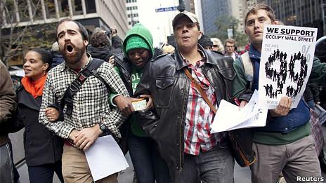 Manifestantes del movimiento Occupy Wall Street.