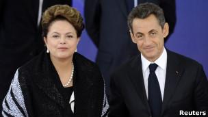 Dilma e Sarkozy em Cannes/Reuters
