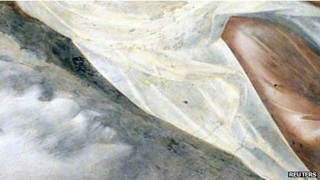 La cara del demonio en un fresco de Giotto