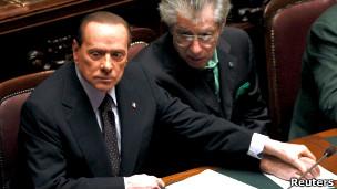 意大利总理贝卢斯科尼在议会里
