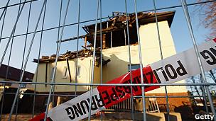 Casa destruida en la que vivía Beate Z.