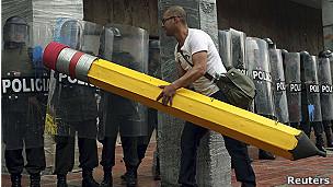 Protesta estudiantil en Colombia.