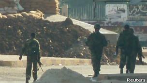 Puesto de control militar a las afueras de Hula, cerca de Homs, a principios de noviembre