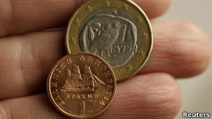 греческие драхма и евро