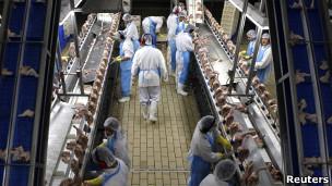 Funcionários de um centro de processamento da galinhas, na cidade de Itatinga (Reuters)