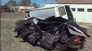 Carro accidentado en Argentina