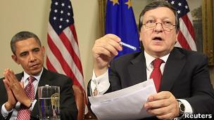 Barack Obama e o presidente da Comissão Europeia, José Manuel Durão Barroso