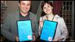 Lasha Bugadze from Georgia and Fernanda Jaber, winners of the BBC's International Radio Playwriting Competition 2011