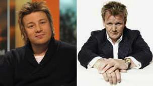 Jamie Oliver e Gordon Ramsay (BBC)