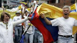 Protesta contra las FARC en Colombia en 2008