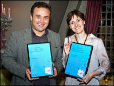 Lasha Bugadze from Georgia and Fernanda Jaber, winners of the BBC's International Radio Playwriting Competition 2011