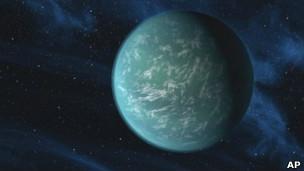 Representación del planeta Kepler 22b