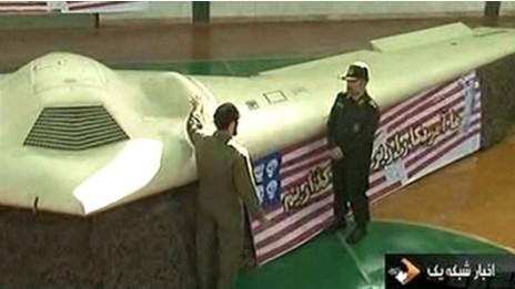 Hình ảnh trên truyền hình Iran về máy bay không người lái của Mỹ