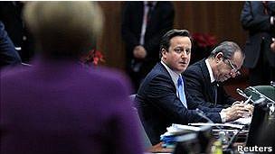 David Cameron durante cúpula da UE