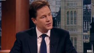Vice-premiê Nick Clegg, em entrevista à BBC