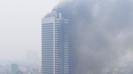 Hình ảnh đám cháy được đưa lên mạng internet