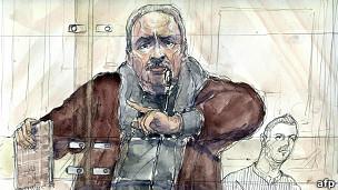 Dibujo hecho en el tribunal de Carlos Ilich Ramírez