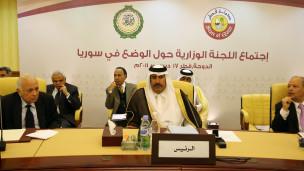 نخست وزیر قطر در جلسه اتحادیه عرب