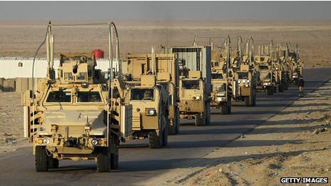 اخر رتل للقوات الامريكية يغادر العراق