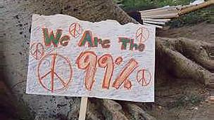 """Cartel con el lema """"Somos el 99%"""" (Cortesía del sitio web """"We are the 99%"""")."""