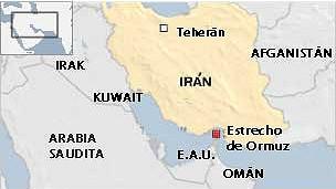 Mapa del Estrecho de Ormuz.