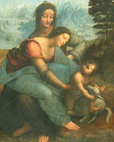 """لوحة """"العذراء والطفل يسوع مع القديسة آن"""" للفنان العالمي ليوناردو دافينشي"""