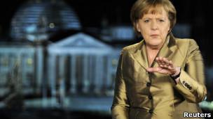 Angela Merkel, em pronunciamento na televisão