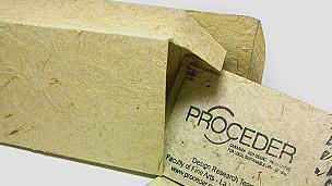 Caja de cartón producido a partir de fibra de rabo de gato