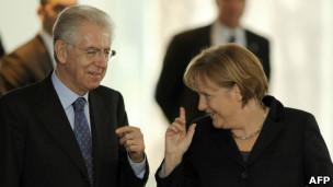 Monti y Merkel