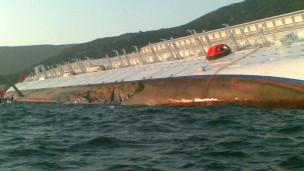Costa Concordia baada ya kwenda mrama