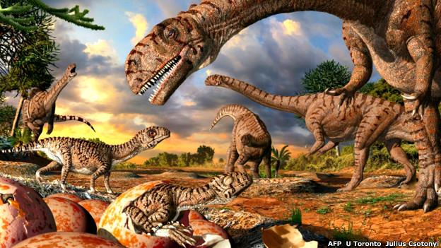 Representación artística de dinosaurios Massospondylus y sus nidos