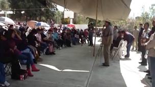Acto político en Cherán.