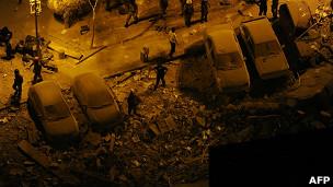 Escombros del edificio derrumbado