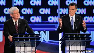 美国共和党总统候选人罗姆尼和金里奇参加佛罗里达州的电视辩论(26/01/2012)