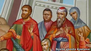 Первоначальный вид фрески в храме города Рудный