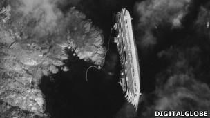 Costa Concordia desde satélite