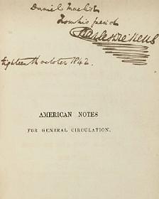 تصویر صفحه نخست کتاب سفرنامه آمریکا با امضای دیکنز