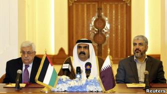 سران فلسطینی و امیر قطر